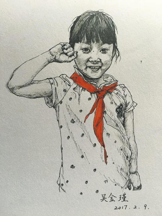 女老师为全班45名孩子画肖像