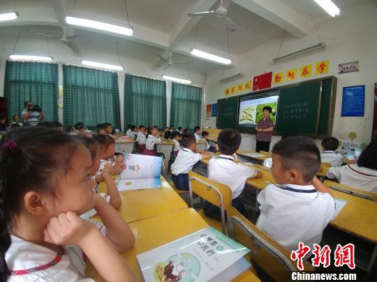 """江西首批""""中医药实验班""""的小学一年级学生正在学习""""中医药的起源""""。 记者 华山 摄"""