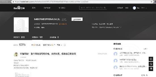 百度评价中关于高仿网站运营公司的负面评价。