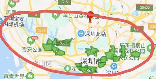 绿色区域为目前朴朴超市在深圳的配送范围