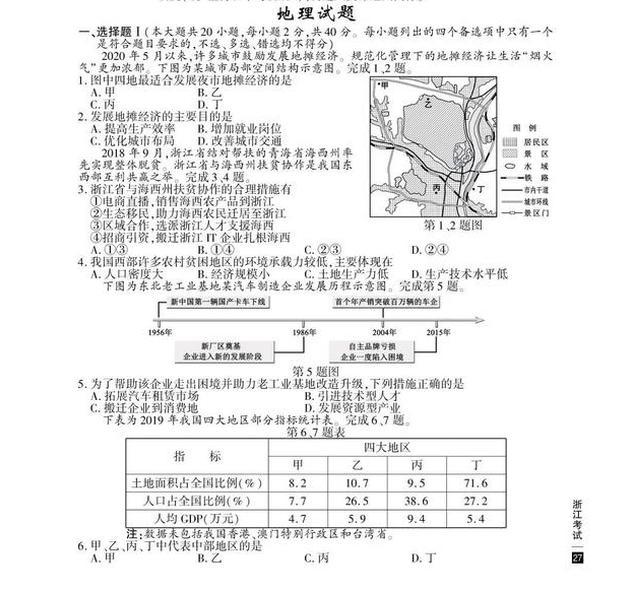 2020高考地理真题及参考答案(浙江卷)