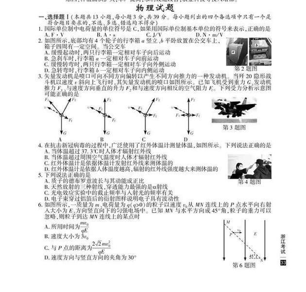 2020高考物理真题及参考答案(浙江卷)