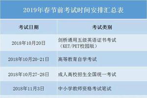 广东2019年春节前各类考试时间安排汇总
