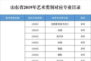 山东2019年艺术类别对应专业目录