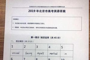 2019年北京高考英语参考答案