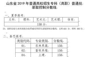 山東2019高招???高職)普通批錄取分數線