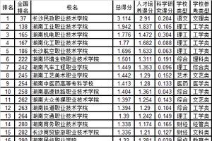 武书连2019湖南省高职高专综合实力排行榜