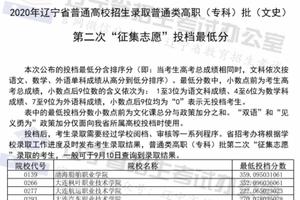 """辽宁普通高职(专科)批第二次""""征集志愿""""投档最低分"""