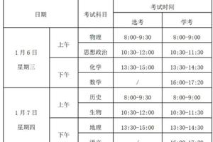 2021年浙江选考和学考时间确定1月6日到8日