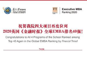 复旦大学管理学院四大项目稳居全球40强
