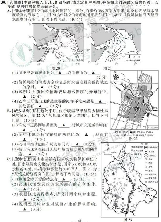 2019年高考地理真题及参考答案(江苏卷)