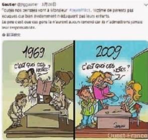 """过去家长和老师一起批评犯错的孩子,而如今老师却挨学生和家长骂。社交媒体上,一名法国网友贴出了一张这样一张漫画,表示维洛""""是没有教养家长的受害者"""" 网络截图"""