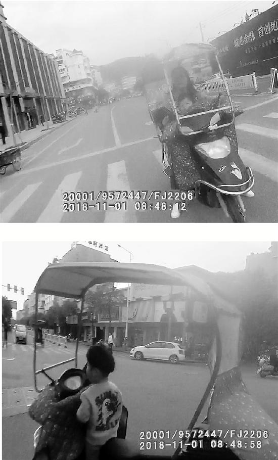 视频截图显示,妈妈把孩子一个人孤零零地留在电瓶车上了。