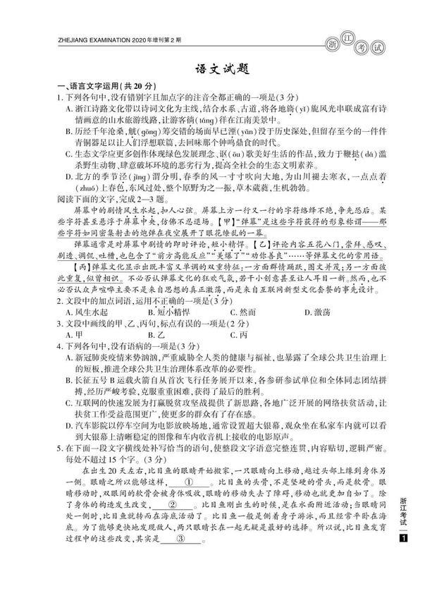 2020高考语文真题及参考答案(浙江卷)
