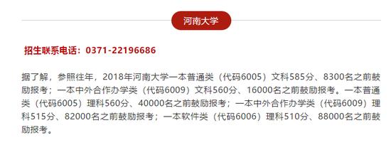香港东方心经马报彩图全国知名高校2018年在河南录取分数线预估