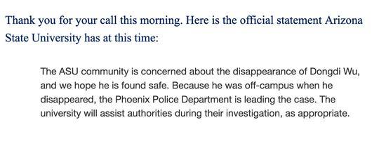 亚利桑那州立大学邮件回复新京报记者称,将在凤凰城警察局调查期间,协助该局进行工作。 邮件截图
