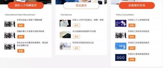 某外教中介机构官网展示的服务