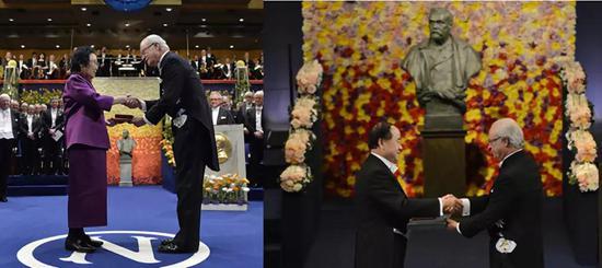 图为屠呦呦、莫言领取诺贝尔奖 图片来源:互联网