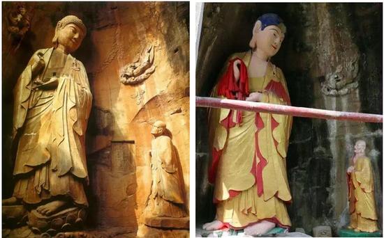 安岳石窟佛像修补前后对比