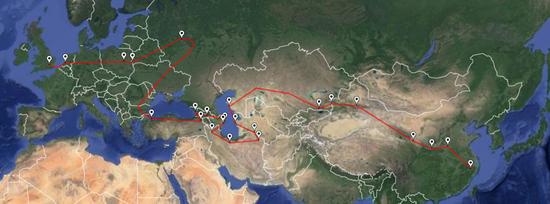 The New Silk Road Project项目团队的骑行路线