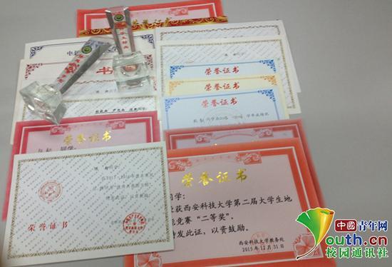 陈新获得的部分荣誉证书。
