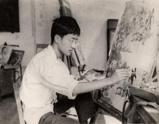 李平在上海市美术学校培训时
