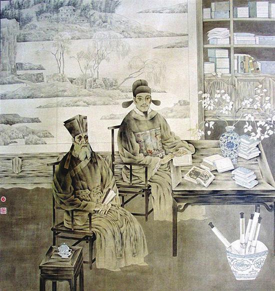 利玛窦与徐光启翻译《几何原本》的场景