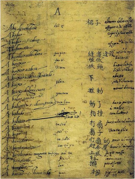 《葡汉辞典》手稿