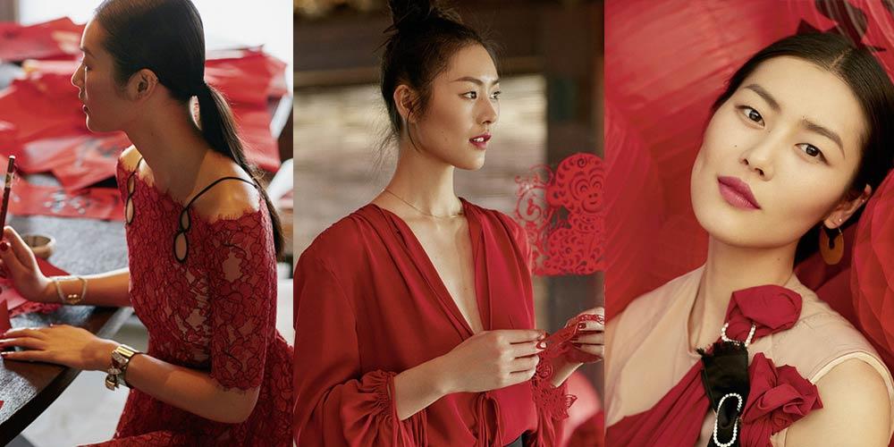 超模刘雯登时尚杂志封面 演绎性感火红年味儿