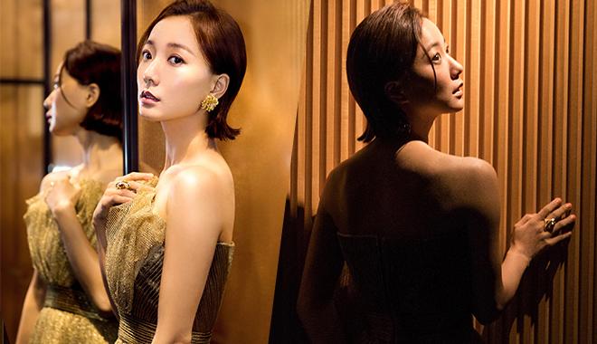 王珞丹金色落地纱裙仙气满满