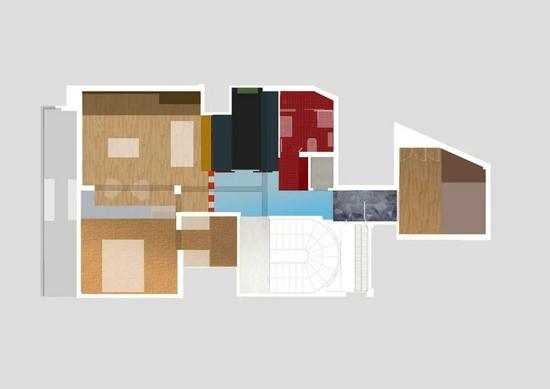 77�O开放式两居室 用色彩划分功能区