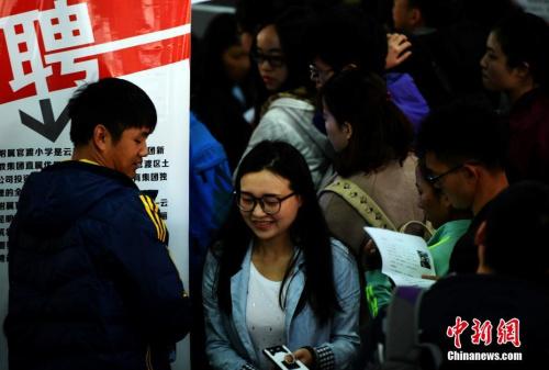 资料图:3月10日,昆明一处招聘会现场。 中新社记者 李进红 摄