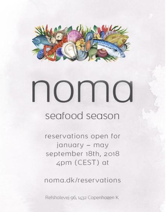 全球最佳餐厅Noma开放明年预订 内容是上半年的海鲜季