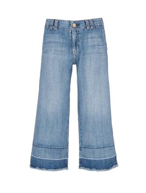 CURRENT/ELLIOTT拼色毛边九分牛仔裤