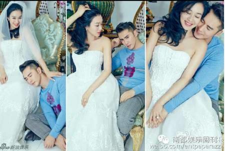 钟丽缇和老公婚纱照
