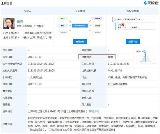 晞彤(上海)影视文化工作室仍在其名下