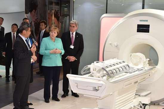 German Chancellor Angela Merkel visits enterprises in Shenzhen