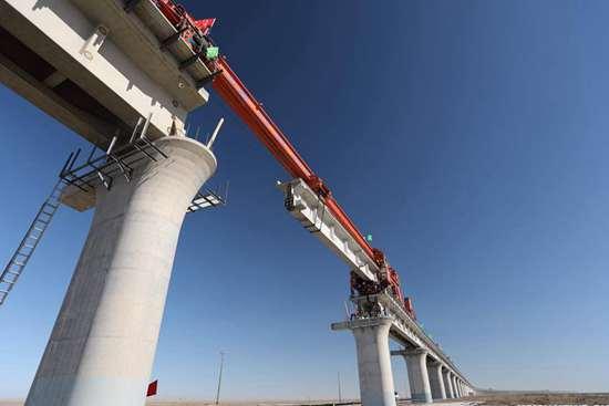 Taitema Lake Bridge of Golmud-Korla railway in Ruoqiang County, NW China's Xinjiang
