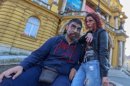 """People take part in """"Zombie Walk"""" in Zagreb, Croatia"""