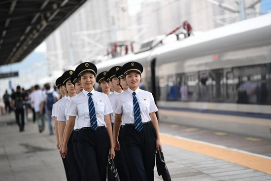 Trainees attend courses to become 1st batch of female bullet train drivers in China