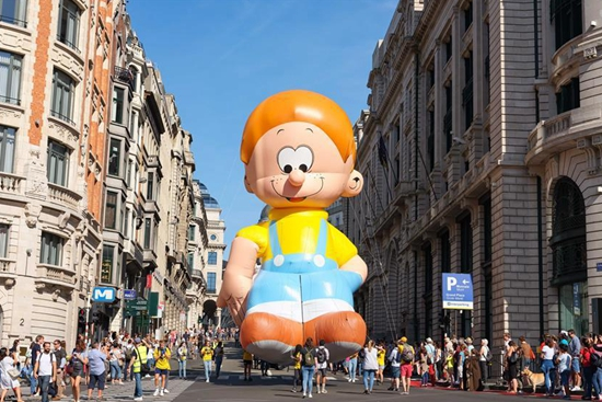 People attend Balloon's Day Parade of 2019 Brussels Comic Strip Festival