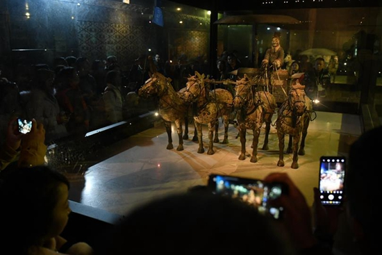 No.1 bronze chariot and horses shown at Emperor Qinshihuang's Mausoleum Site Museum in Xi'an