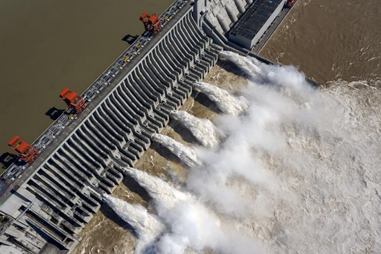 Aerial view of Three Gorges Dam in China's Hubei