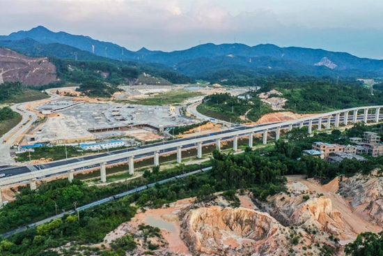 Medium-low-speed maglev railway under construction in Qingyuan City, Guangdong