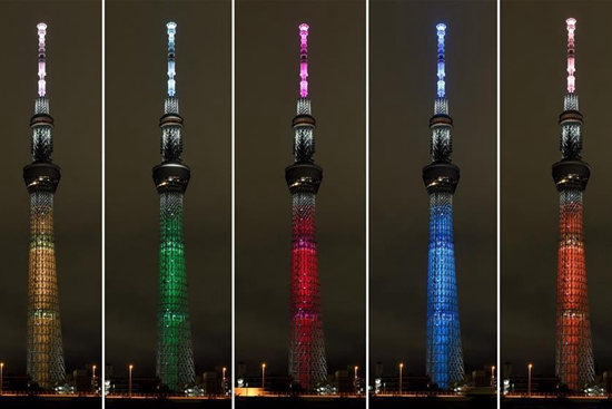 Tokyo Skytree with special illumination pattern