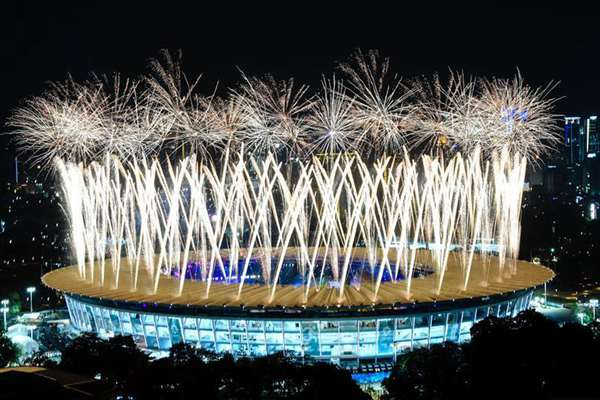 Highlights of opening ceremony of 18th Asian Games in Jakarta, Indonesia