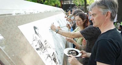 Foreign cartoonists paint for Beijing