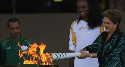 Brazil's president unveils Olympic torch relay in Brazil
