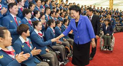 Chinese Vice Premier Liu Yandong meets sports delegation for Rio Paralympic Games