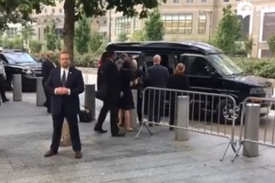 Clinton departs 9/11 ceremony after falling ill